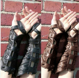Medieval PU Leather Scale Wristband Steampunk Gothic Bracers Gauntlet Armband