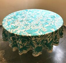 Round Tablecloth Mint Green Otomi Nature Animals Festive Mexico Cotton Sateen
