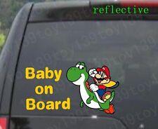 "Super Mario Baby Yoshi ""BABY ON BOARD"" Vinyl  Decal Sticker  window / reflective"