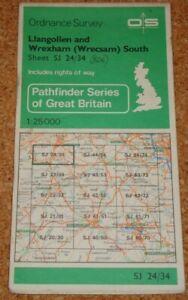 UK ORDNANCE SURVEY Pathfinder (1:25000) Map SJ 24/34 - Llangollen, Wrexham South