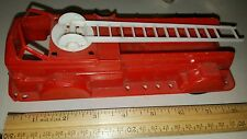 Vintage Plastic Red Firetruck Wind Up Toy Look!