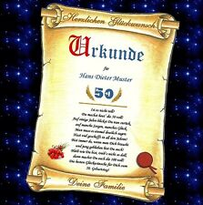 Urkunde zum Geburtstag 40 50 60 70 80 90 Geburtstagskarte Geschenk Jubiläum