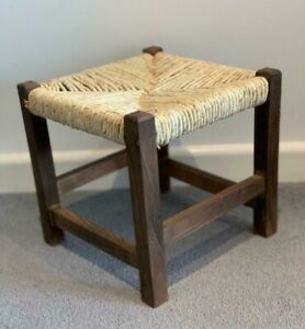 Vintage Wicker Brown Rattan Footstool Shabby Chic Wooden Children's Seat