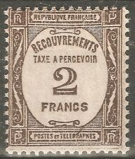 FRANCE TAXE 2F SEPIA N° 62 NEUF SANS CHARNIERE AVEC LEGERE ADHERENCE COTE 335 €
