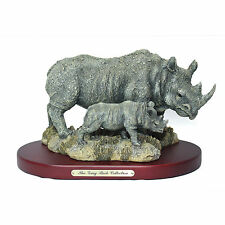 New The Gray Rock Collection Rhino Momma & Rhinoceros Baby Collectible Figurine