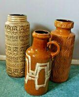 Mixed Lot 3 Mid-Century Large W. German Glazed Floor Vases Inc. Onion Pattern
