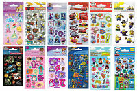 Childrens Character Fun Stickers 6 Sheets Party Pack Loot Bag Fillers
