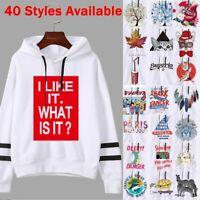 Womens Printed Hoodie Sweatshirt Hooded Jumper Pullover Tops Coat Outwear LIU9