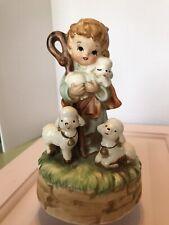 Vintage Music Box Japan Christmas Boy Sheep O Little Town Of Bethlehem