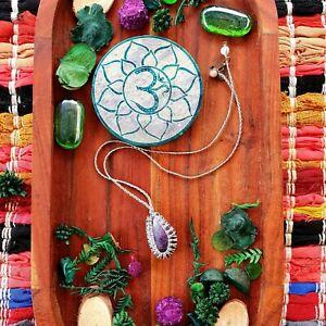 Amethyst Crystal Pendant Necklace Hemp Cord Handknotted Macrame GypsyLee Jewels