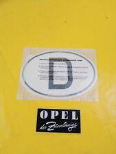 NEU + ORIG GM Opel Universal Oldtimer Youngtimer D Aufkleber Schild Kennzeichen