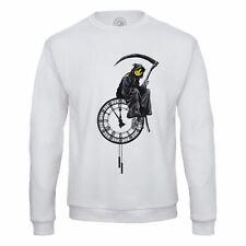 Sweat Shirt Homme Banksy Faucheuse Horloge Smiley Grim Reaper