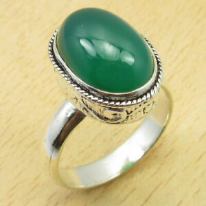 Handwork !! 925 Silver Plated Green Onyx Ring Size 7 Gift For Wife New Jewelry