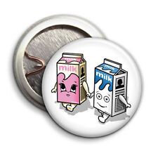 Blur - Coffee & TV - Button Badge - 25mm 1 inch - Milk Carton Couple