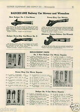 1943 PAPER AD Badger Line Railroad Railway Car Mover Wrenches Power King Advance