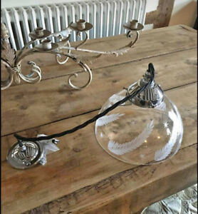 JIM LAWRENCE ASHURST CUT GLASS PENDANT CEILING LIGHT Nickel Chrome RRP £163