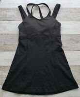 Lululemon Womens Size 2 Black Tank Top Removable Padded Bra Inserts Criss Cross