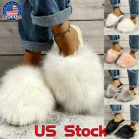 Women's Fluffy Fur Slide Slippers Indoor House Comfy Soft Fuzzy Flats Shoes Size