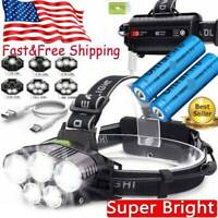 5x T6 LED 350000Lm Headlamp Rechargeable Headlight 18650 Head Torch Flashlight