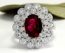 Estate 4.00 Carats NATURAL Tourmaline and DIAMOND 14K Solid White Gold Ring