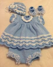 Beautiful *Hand Knitted *Dress*Reborn*Baby*Doll*Outfit*Set*19/20 inch*