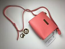 Authentic Versace Collection Saffiano Leather Small Crossbody Bag Coral