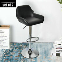 2PC Counter Leather Bar Stools Adjustable Swivel Pub Dining Chair Kitchen Black