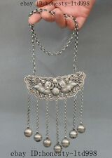 """15"""" Old Chinese Tibet Silver Foo Dog Lion Statue Ward off evil Amulets Necklaces"""