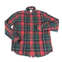 LL BEAN Green Red Plaid 100% Cotton Flannel Traditional Fit Shirt Size M