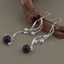 Earrings Round Black Bead Fashion Twist Drop Dangle Ladies 925 Sterling Silver