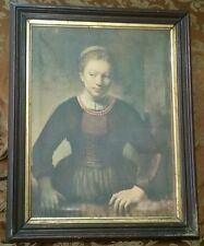 Antique Framed Rembrandt Girl at Open Half Door Picture Art Institute Chicago