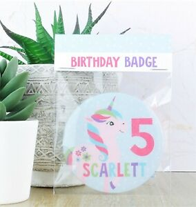 Personalised Unicorn Girls Age Badge,1st, 2nd,3rd, 4th, 5th, 6th, 7th, 8th 75mm