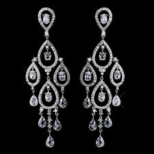 Chandelier Earrings #2627 Radiant Silver Clear CZ