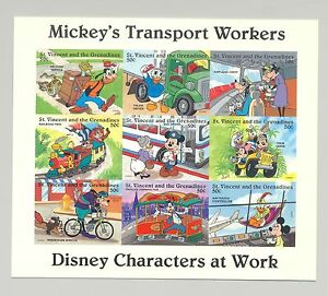 St Vincent #2248 Disney, Transportation 1v M/S of 9 Imperf Chromalin Proof