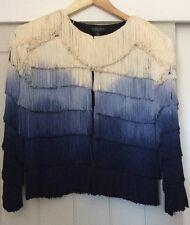 FABULOUS Rare Vintage Topshop Fringed Ombré Blue Cream Jacket Size 10/12
