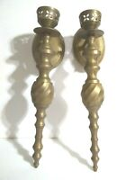 Vintage Solid Brass Wall Hanging Scones Candle Holders (2)