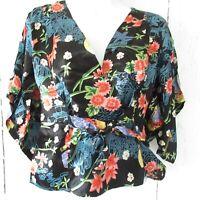 New Angie Top S Small Black Asian Floral Print Wrap Kimono Sleeve