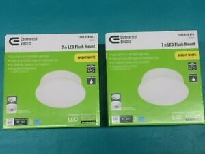 """2 Commercial Electric 4000k Spin Light 7"""" LED Flush Mount Ceiling Lights 60 Watt"""