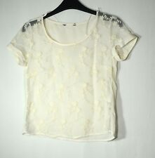 IVORY LADIES CASUAL SEE THROUGH  FLORAL EMBROIDERED TOP BLOUSE SIZE 6 NEW LOOK