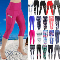 Women High Waist Yoga Fitness Running Gym Stretchy Leggings Sport Pants Trousers