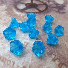 Strand of 50  Czech Glass Bell Flower Beads Aqua Floral Beads Czech Glass Beads