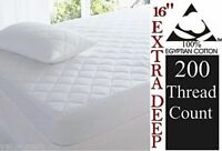New Luxury Extra Deep Egyptian Cotton Quilted Mattress Protector 40cm skirt