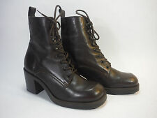 super NINE WEST woodland brown leather granny lace combat casual dress boots 6