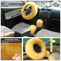 Universal 3Pcs/Set 36-38cm Car Steering Wheel Cover Furry Fluffy Thick Tan Color