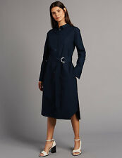 Marks and Spencer Womens Pure Cotton Long Sleeve Shirt Dress Navy Size 12 RRP£65