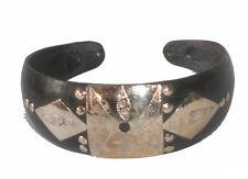 Bracelet large africain Touareg en corne ébène et argent