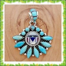 Wow Chic/Nice Pendant In Turquoise / Multicolor Inlay In .925 Sterling Silver