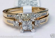 Yellow Gold Quad Princess Cut Round Diamond Engagement Bridal Set Wedding Ring