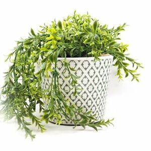 Dutch Style Green White Plant Pot Cover *Diamond Design*H12x14cm *Glazed Ceramic