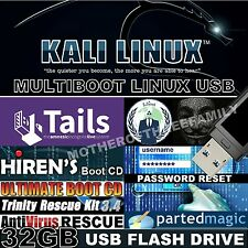 10-in-1 NEWEST Live USB ethical hacking Kali Linux 2017 + Computer Repair Tools